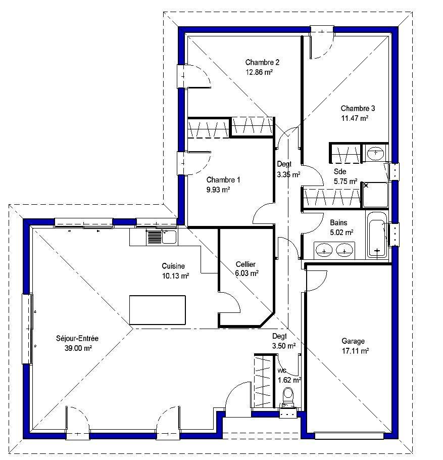 3ch Jpg 877 910 Plan De Maison Familiale Plan Maison 90m2 Plan Maison 100m2