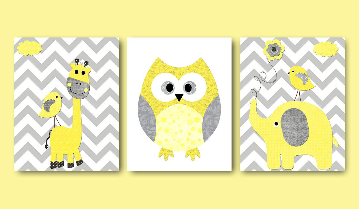 Yellow and Gray Giraffe Elephant Owl Canvas Art Nursery Wall Art ...