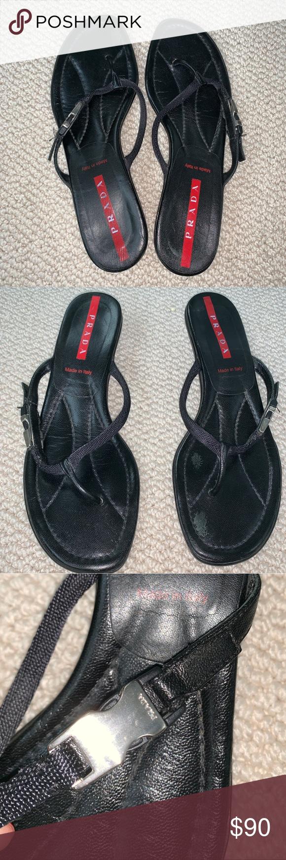 Prada Black Sport Kitten Heel Flip Flop 9 5 Heeled Flip Flops Prada Kitten Heels