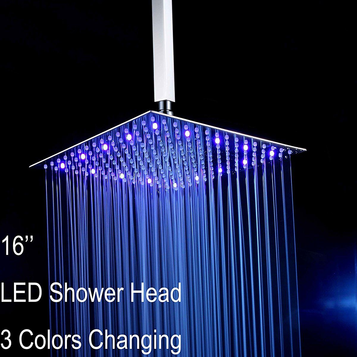 Ceiling Mounted Square LED Fixed Rainfall Shower Head | Stainless ...