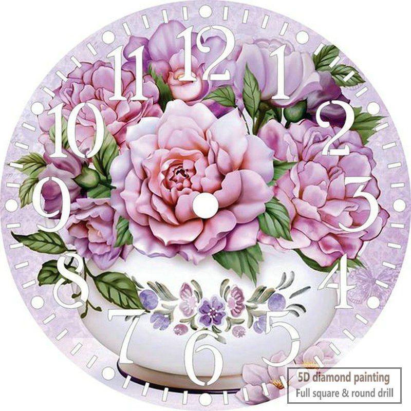 DIY 5D Diamond Embroidery Painting Cross Stitch Girl Clock Office Home Decor
