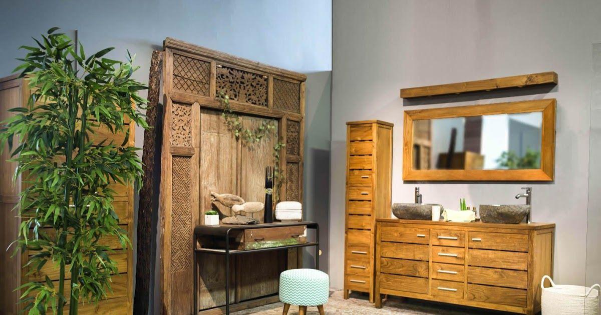 Ensemble meuble salle de bain teck colonne et miroir #bois #teck