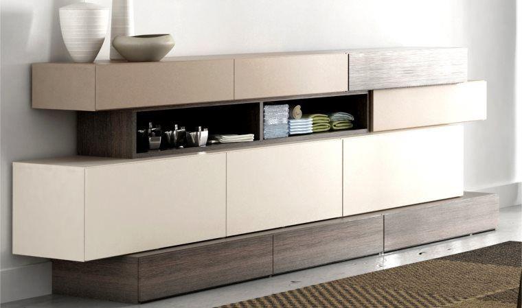 Buffet Design 2 Portes Et 4 Tiroirs Hifi Avec Meuble Complementaire Vox Buffet Bas Blanc Buffet Blanc Et Bois Buffet Design