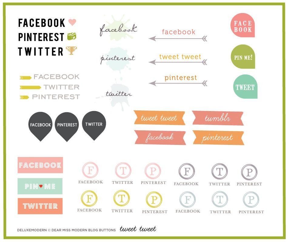 social media buttons Blogging Pinterest Circles, Design