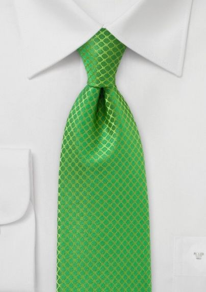 Men's Punchy Patterned Tie in Bright Kelly Green ...