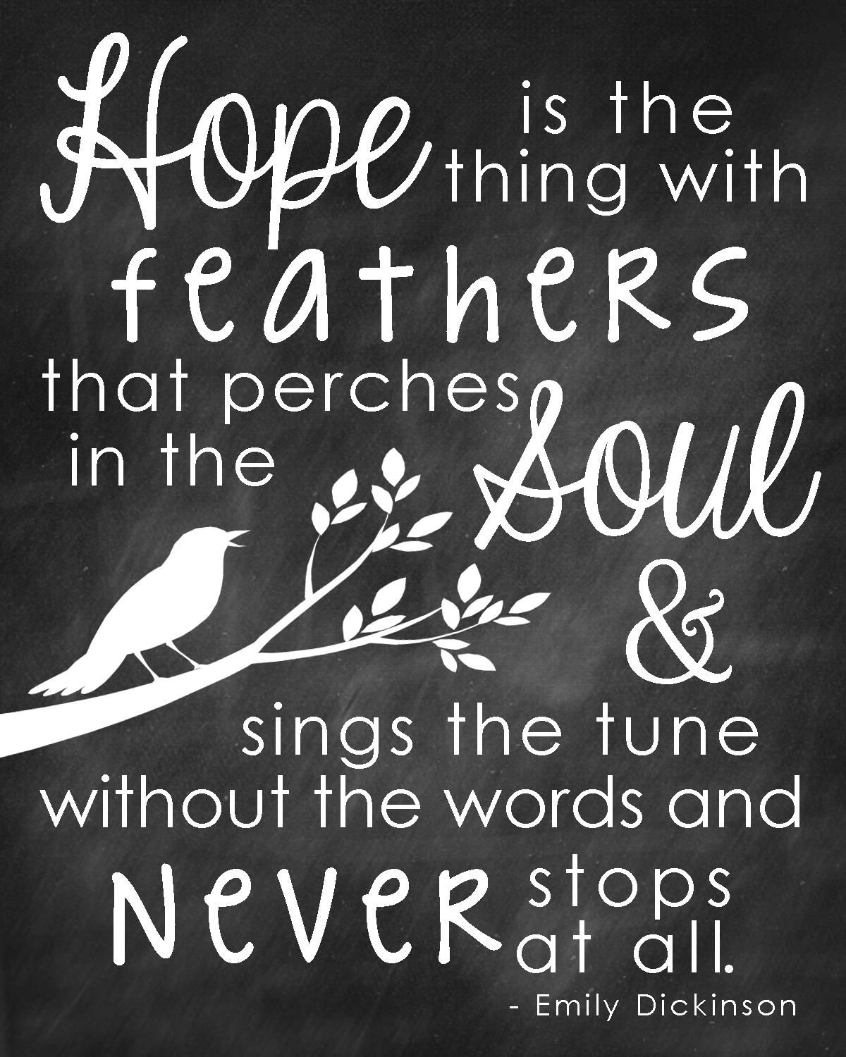 Quote Emily Dickinson Hope Is The Thing With Feathers Chalkboard