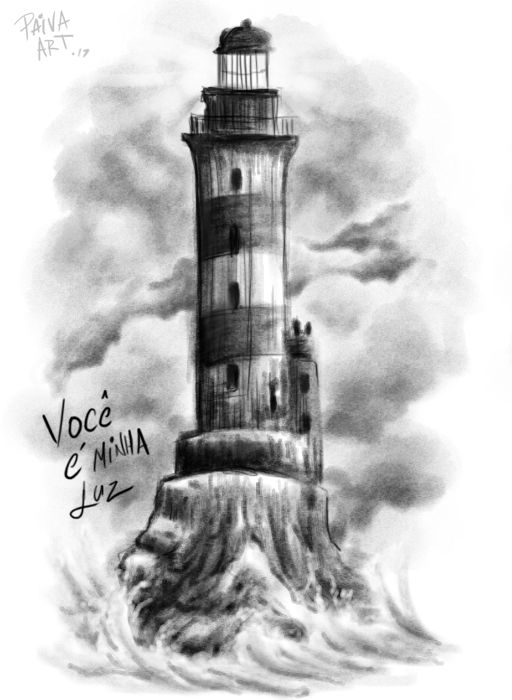 c41156e4f Black and gray watercolor lighthouse tattoo design | Tattoos that I ...