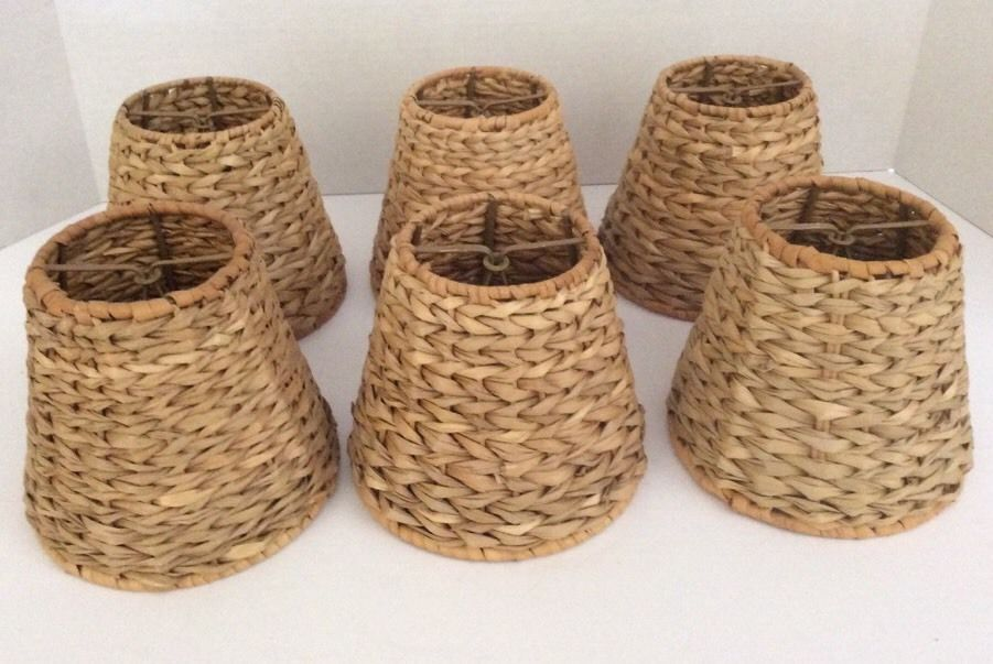 6 Mini Chandelier Lamp Shades Rattan Wrapped Wicker Clip On