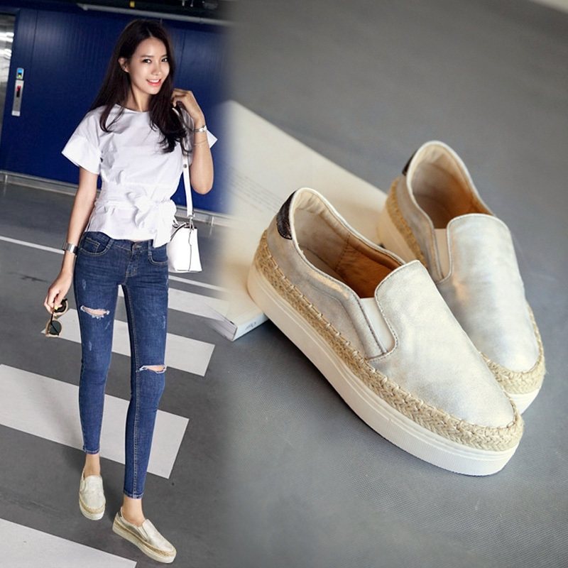 32.40$  Watch now  - New 2016 Fashion Thick Soles Woman Loafers Summer Korea Women Flats Shoes Slip on Braided Fisherman Shoes Winter Warm Woman Shoe