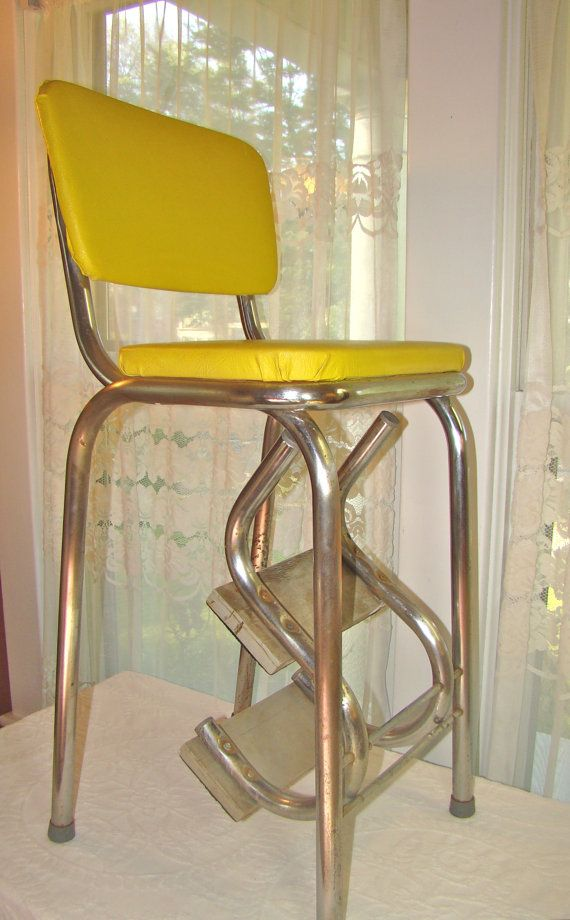 Vintage Mod Kitchen Stool With Fold Out Steps In Sunshine Yellow 1950s Step Ladder