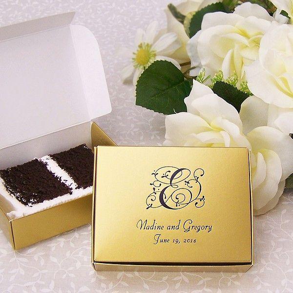 5 X 4 Custom Printed Wedding Cake Slice Favor Boxes