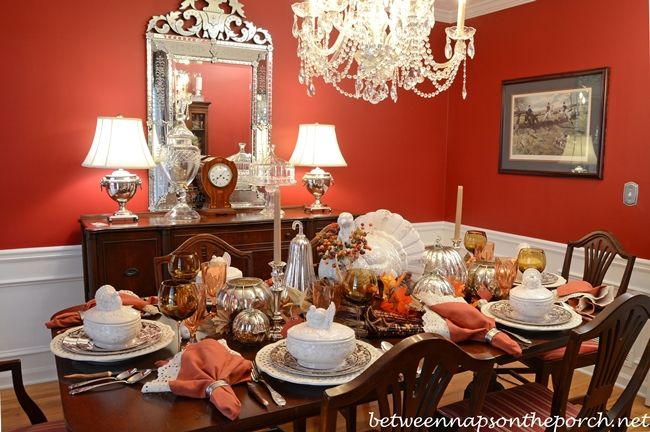 Thanksgiving Tablescape with Pottery Barn Rustic Turkey Centerpiece and Turkey Tureens_wm