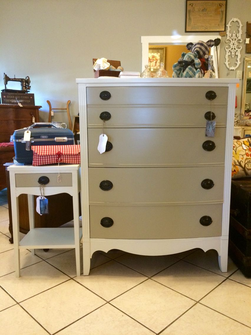 Vintage Dixie Furniture Duncan Phyfe chest of drawers and nightstand  refinished using General Finishes Milk Paint - Vintage Dixie Furniture Duncan Phyfe Chest Of Drawers And