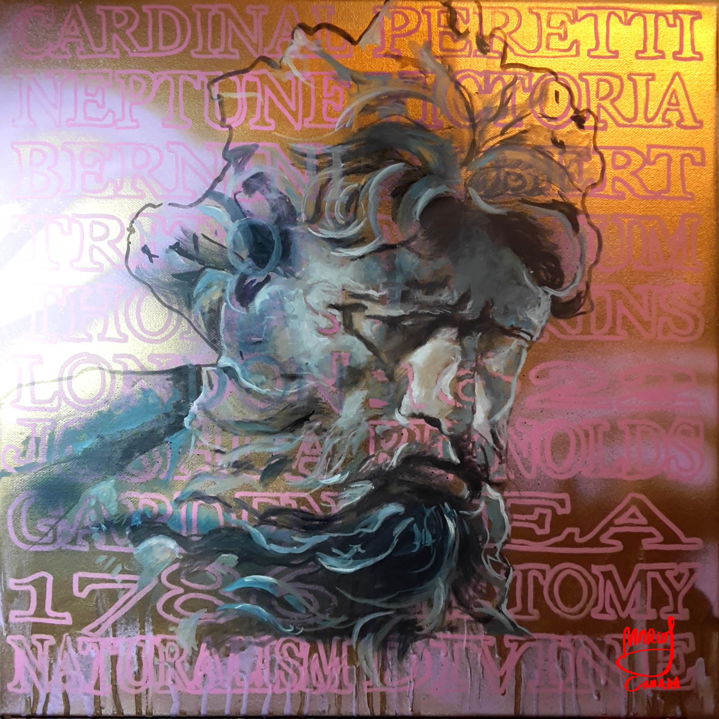 Neptune 01 by Marcos Cañada. Oil, spray and makers on canvas, 50 x 50 cm (19,6 x 19,6 inches)