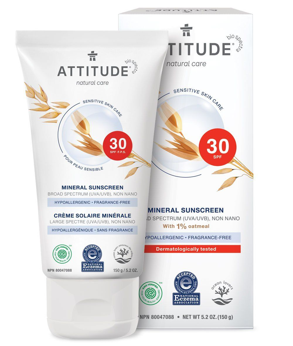 Mineral Sunscreen Spf 30 Fragrance Free 150g Attitude Fragrance Free Products Mineral Sunscreen Spf Sunscreen