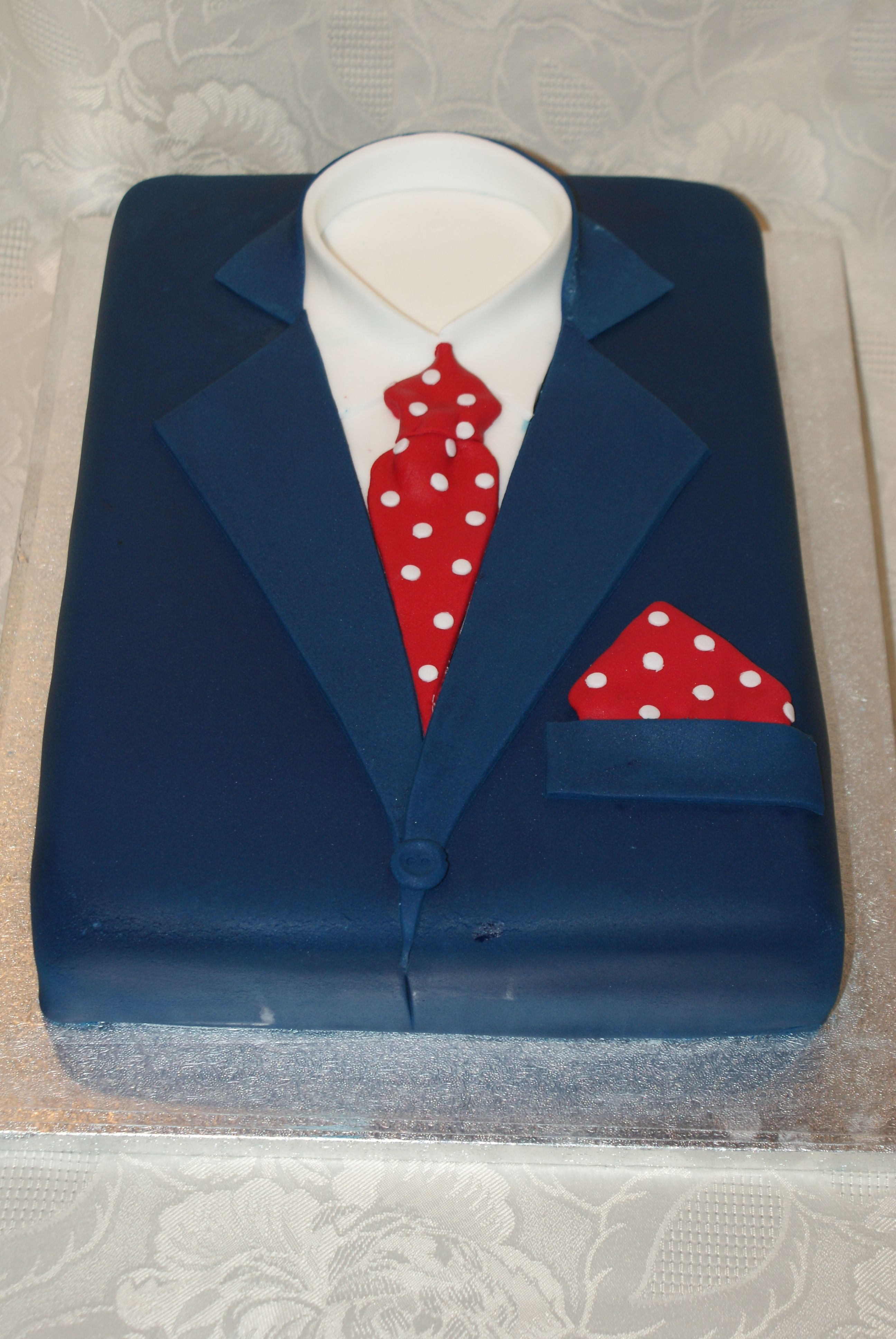 Navy Bue Suit Red Polka Dot Tie And Pocket Square Cake