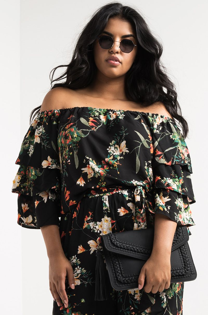 45146d0d AKIRA Elasticated Off Shoulder Ruffle 3/4 Sleeve Lightweight Floral Floaty  Top in Black