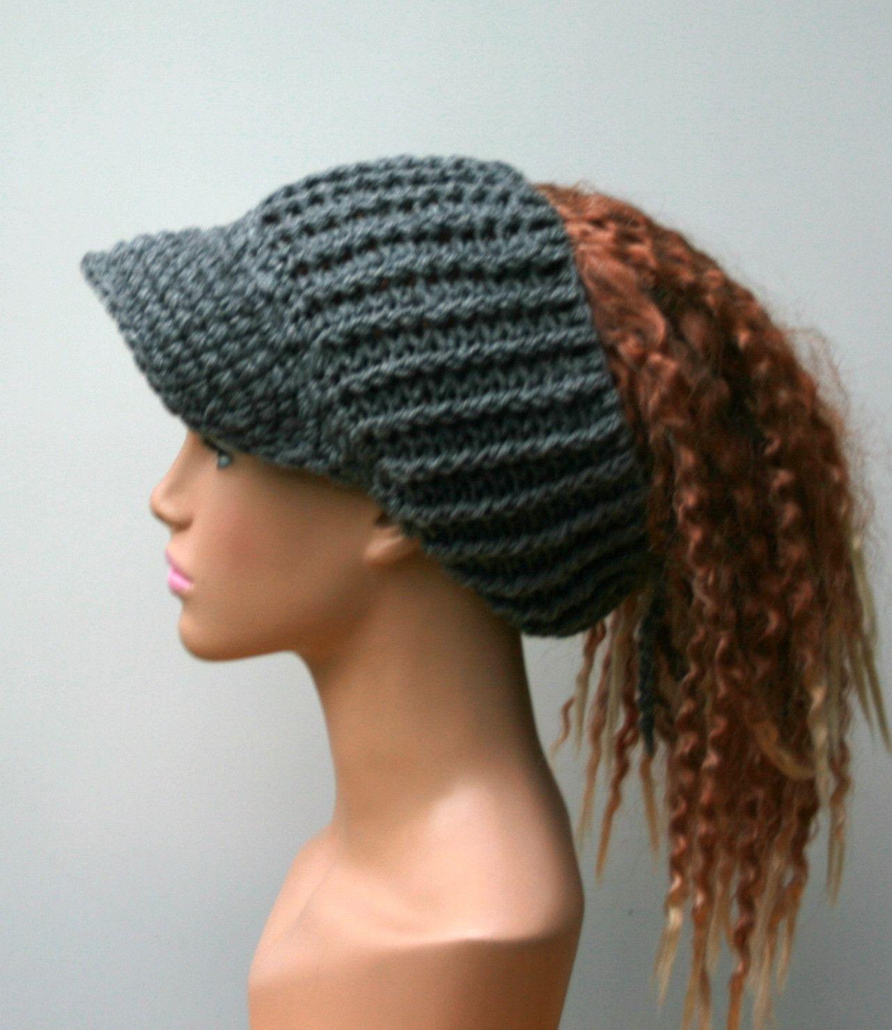 Heather gray Ponytail hat, Visor Dread Tube cap, billed dread tube ...