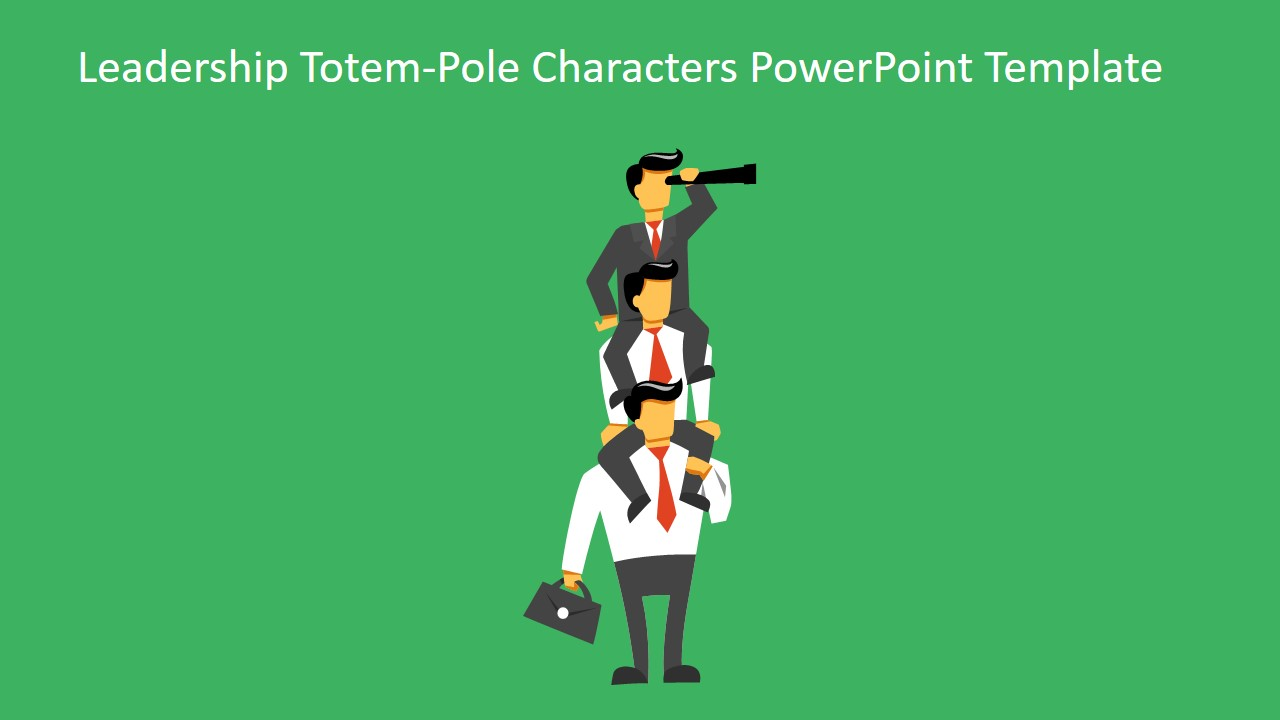 Leadership Totem Pole Characters Powerpoint Template