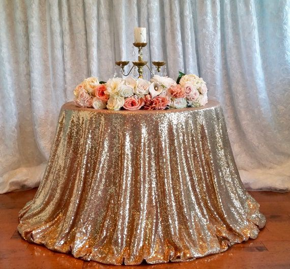 2017 New Antique Gold Sequin Tablecloth Sparkly Champagne