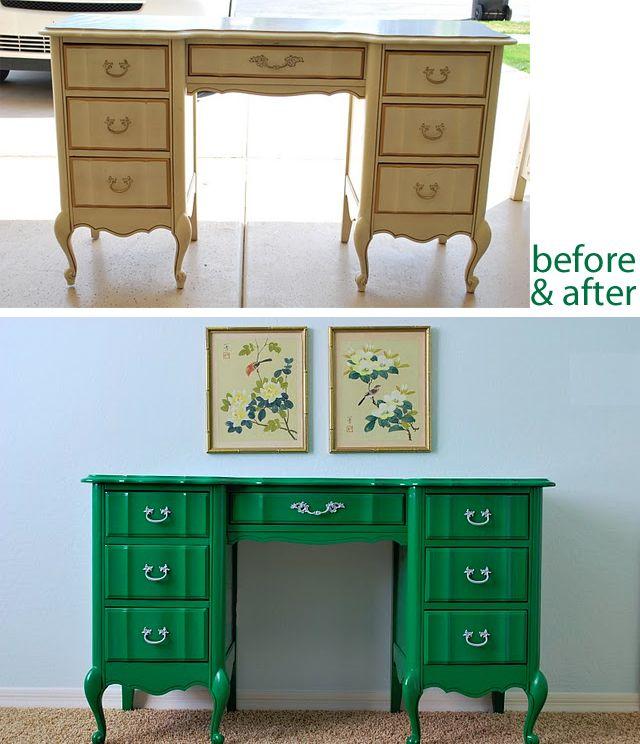 Green Lacquer Desk Makeover Decor Hacks Desk Makeover Furniture Makeover Furniture