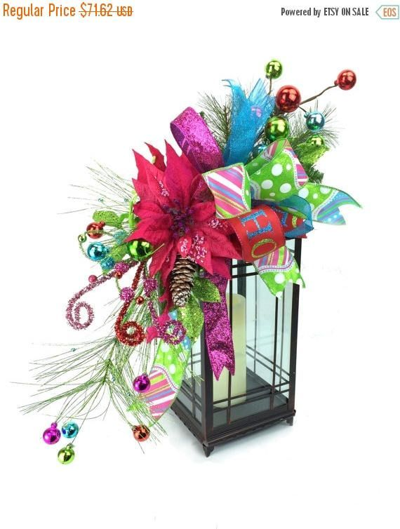 ON SALE Hot Pink Poinsettia Christmas Lantern Swag with Lelis
