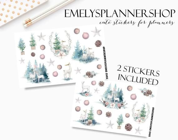 Photo of Winter Snow Deer – Forest Stickers – Woodland Animals – Planner Sticker Set – Watercolor Stickers – Boho Stickers – Bujo Sticker 2845