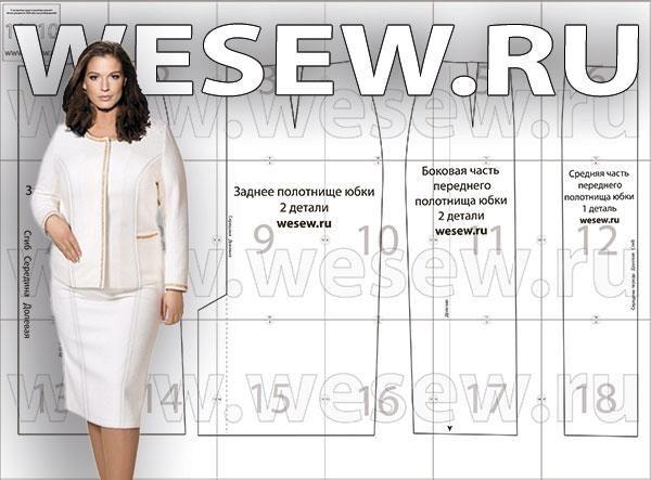 d22cd99a5e76 Выкройка юбка карандаш для полных   Шью...   Юбка, Шанель и Одежда