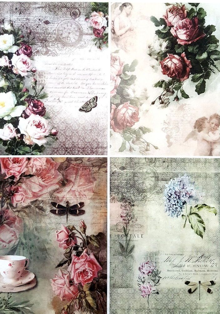 Rice Paper for Decoupage Decopatch Scrapbook Craft Sheet Roses and Butterfly