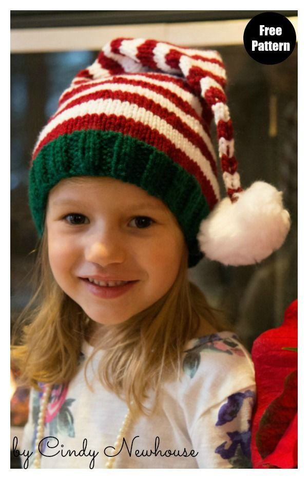 Santa's Helper Stocking Hat Free Knitting Pattern#freeknittingpattern  #knittingpatterns  #knittinghats  #christmashat