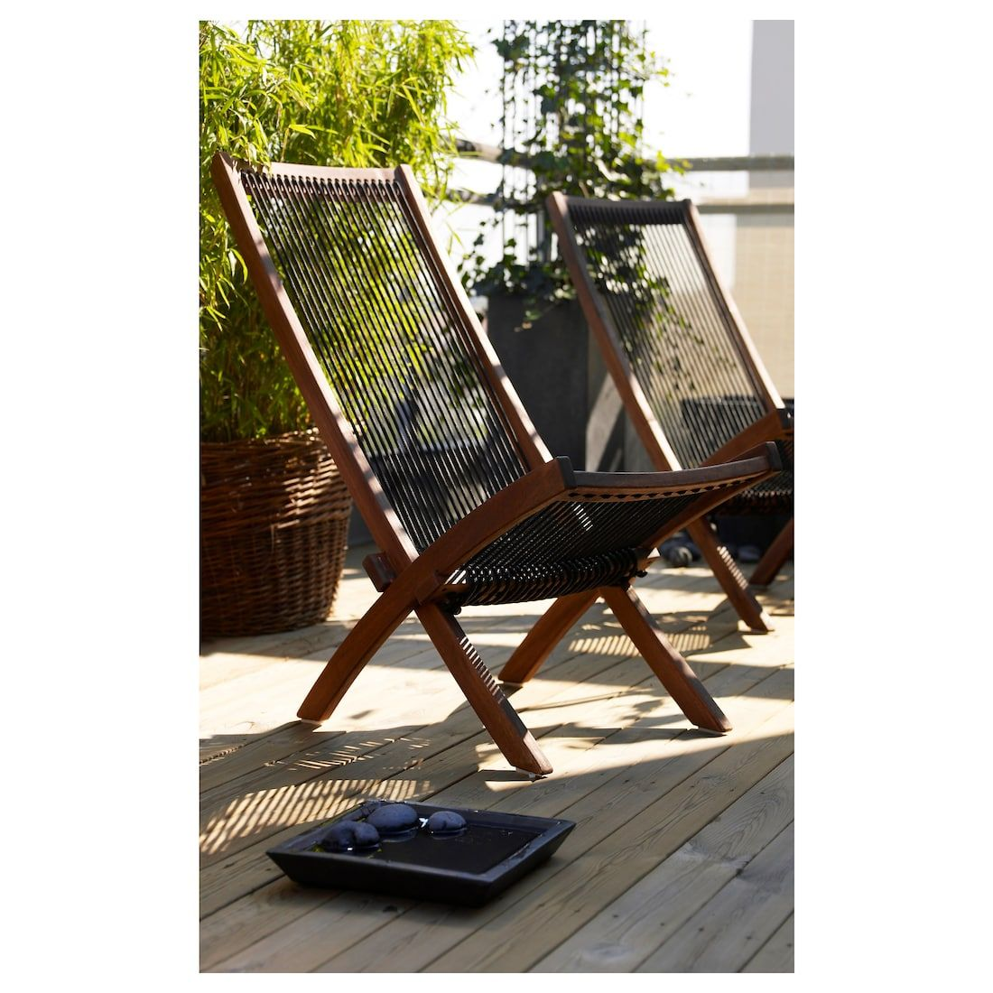 Ikea Brommo Brown Stained Black Brown Chaise Outdoor In