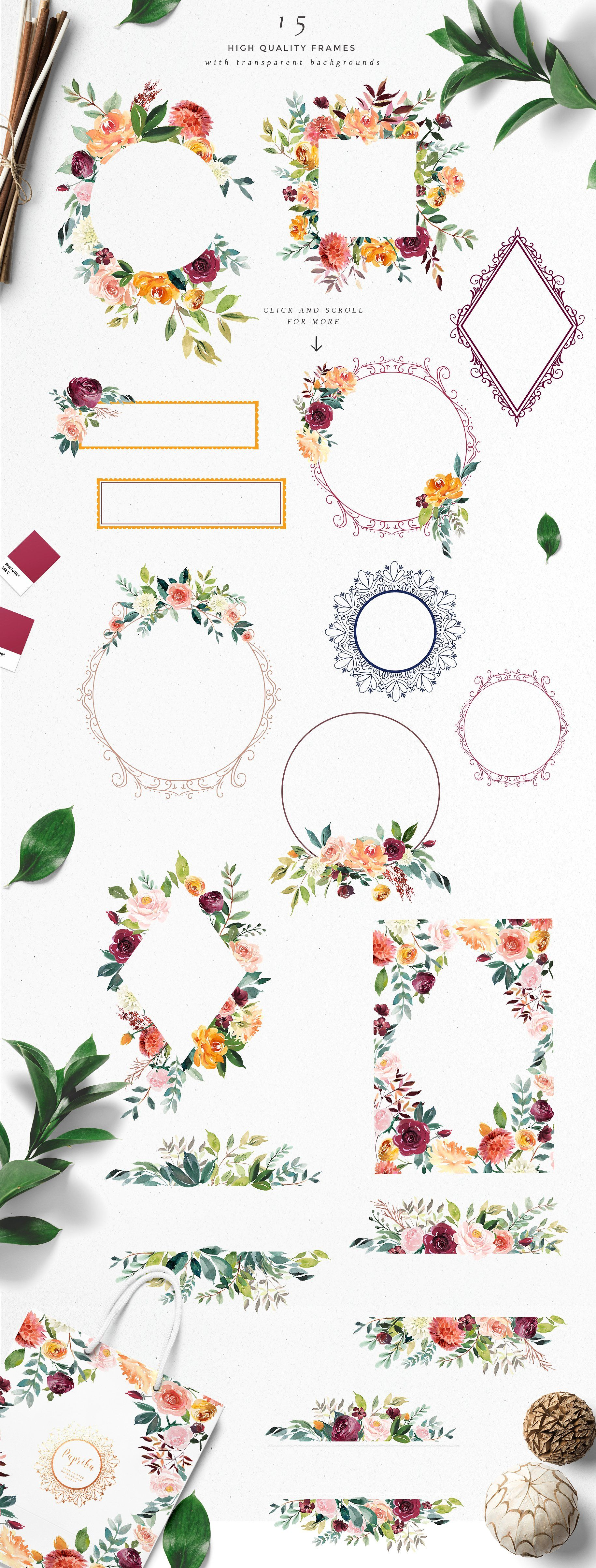 Photo of Watercolor Flower Clipart -Paprika by Twigs and Twine on Creative Market
