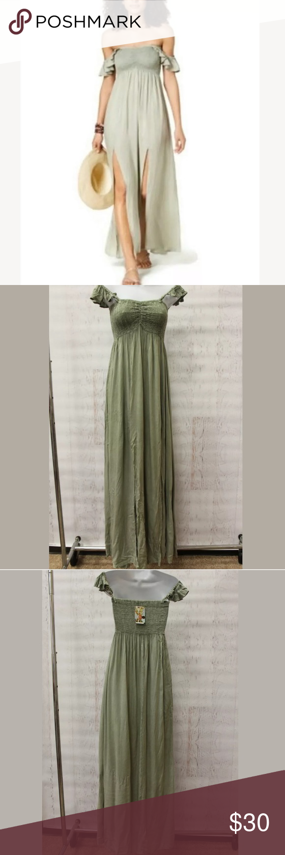 a308a6e9ce Raviya Off The Shoulder Maxi Cover Up Swim Dress Brand new with tags! B445  S B446 M Sage Green Only on pm Raviya Swim Coverups