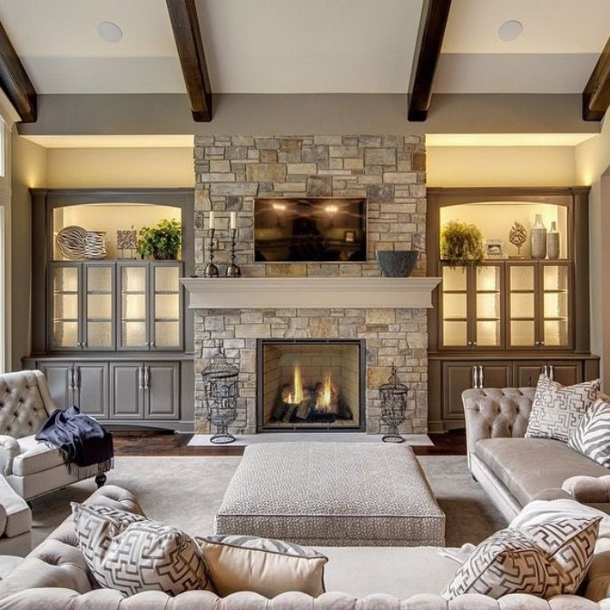 Lr Stone Fireplace With Tv On Top Of Mantel Flat Hearth Ottoman As Coffee Table