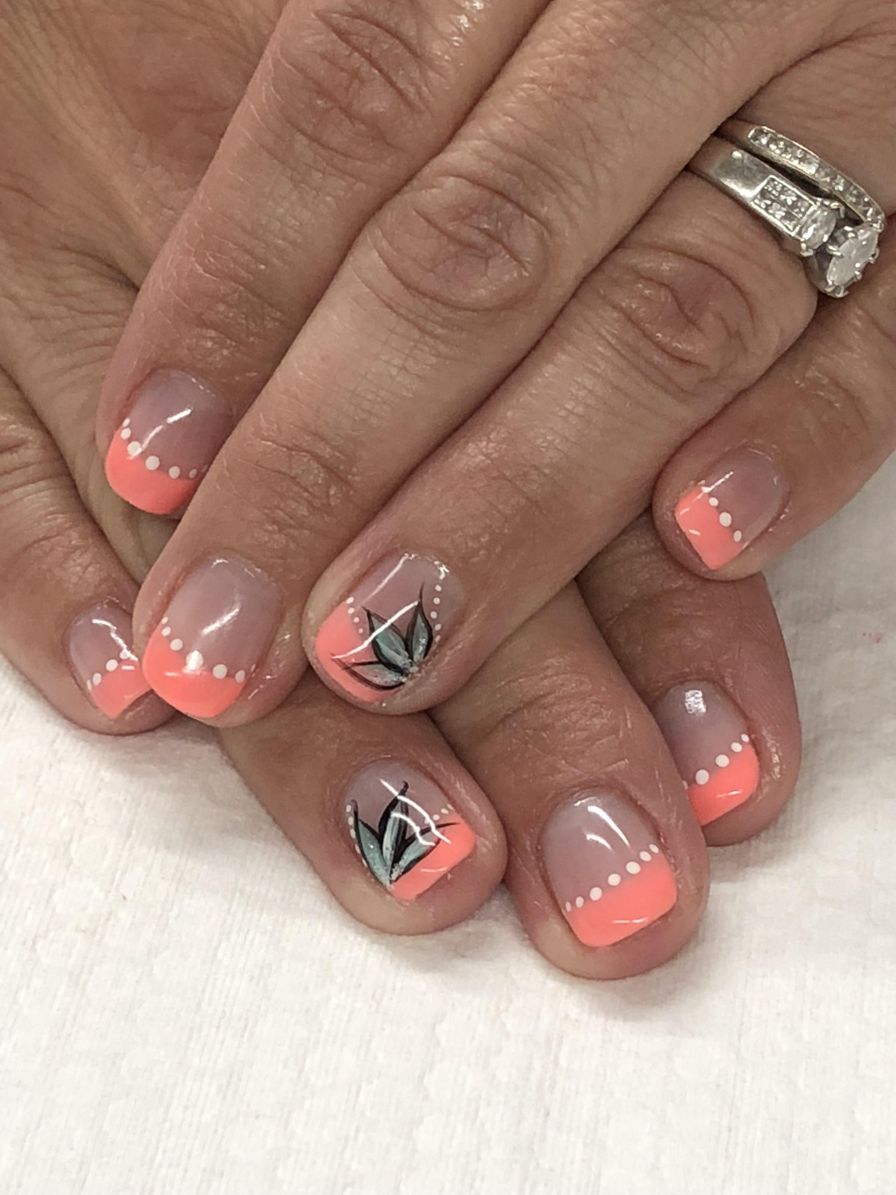 Coral Tropical Summer French Gel Nails Summer Gel Nails Gel