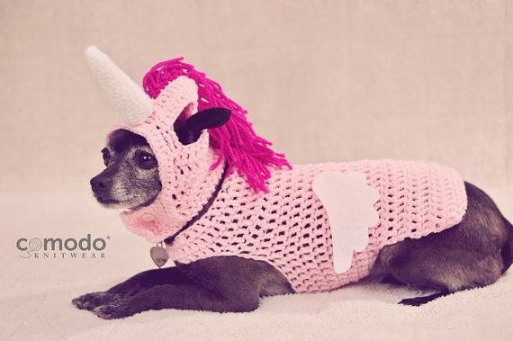 de9eed46ca6 Pink Alicorn   Unicorn with wings Outfit by comodoknitwear on Etsy - Crochet  costume for a dog