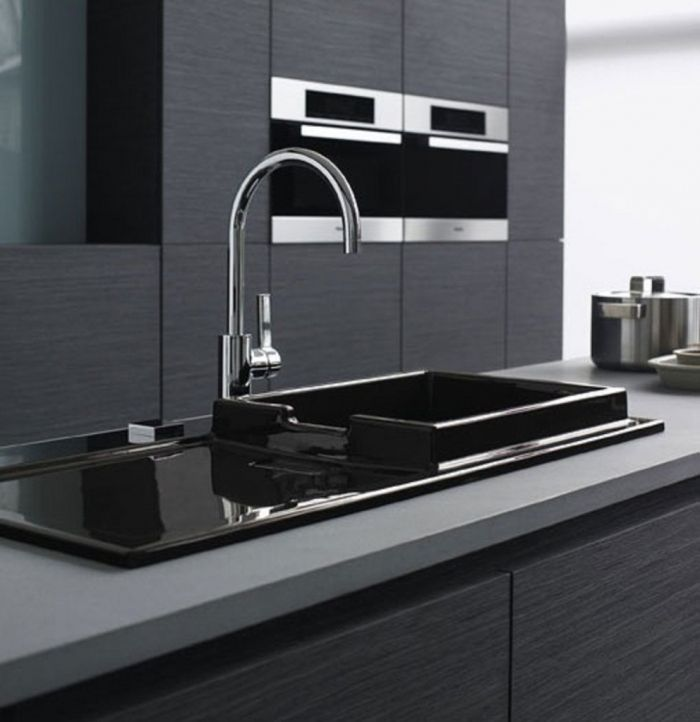 Luxury Kitchen Sinks With Grey Countertop Black Basin Long Stainless ...