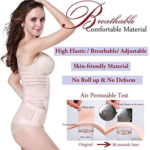01e0d392f29f7 3 in 1 Postpartum Support - Recovery Belly waist pelvis Belt Shapewear  (Nude) at Amazon Women s Clothing store