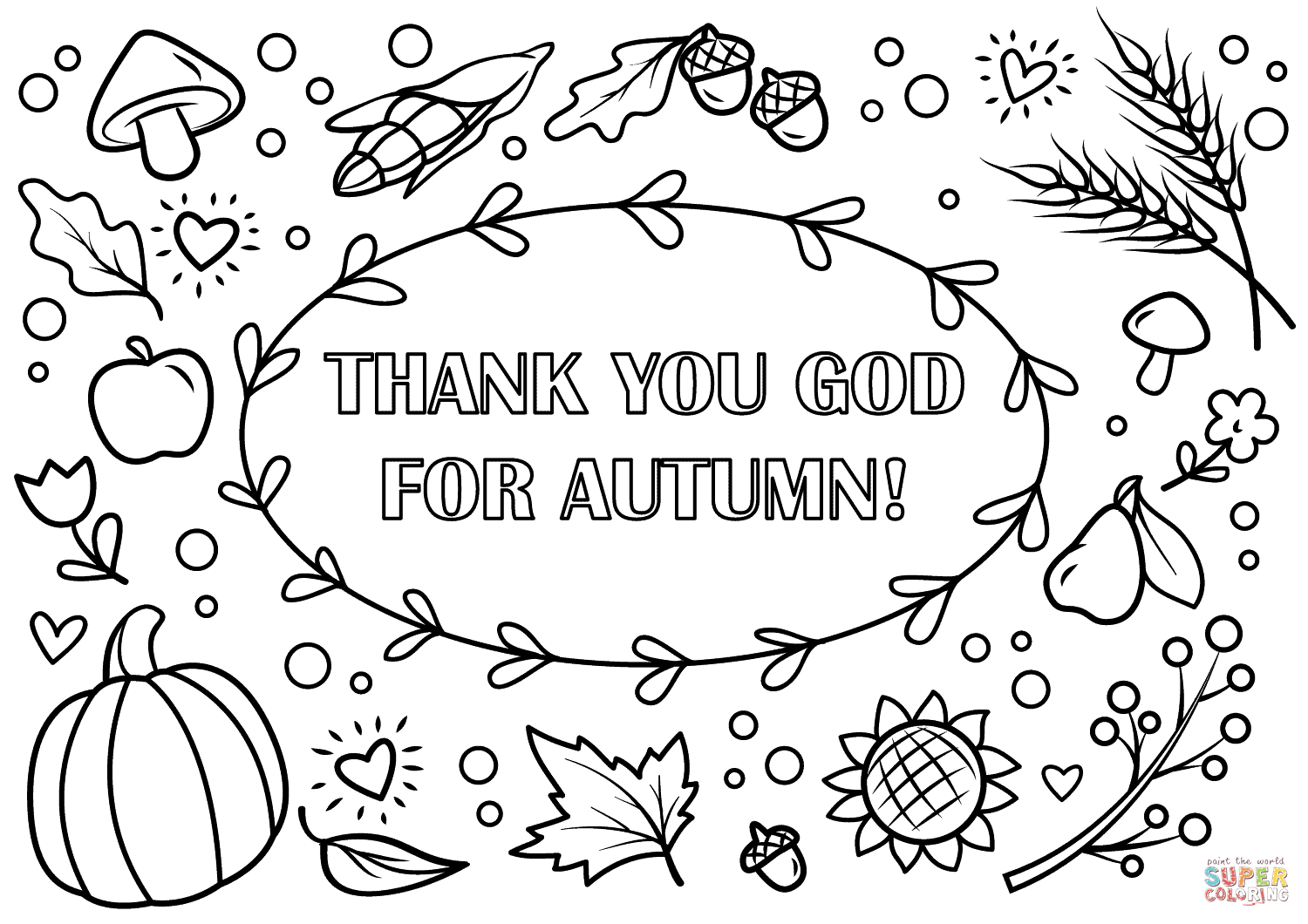 Thank You God For Autumn Coloring Page From Fall Category