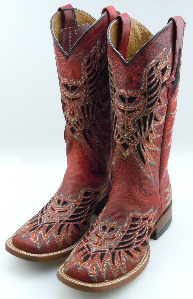 33fac229e91 Lucchese M3685 Red Vintage Calf Leather Womens Western Cowboy Boots ...