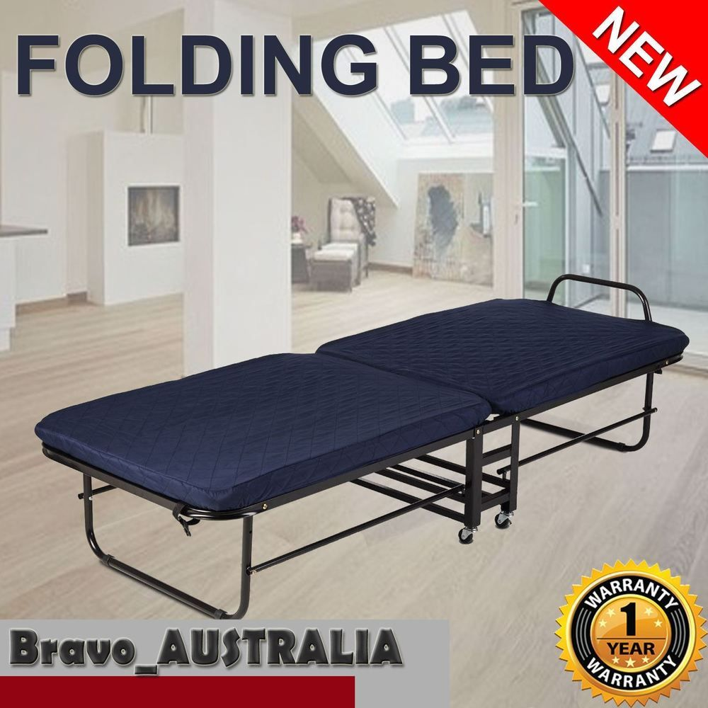 Portable Folding Bed Single w/ Mattress wheels Camping