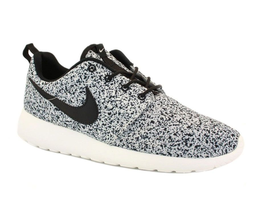nike sportswear roshe womens print black\/white\/grey flannel