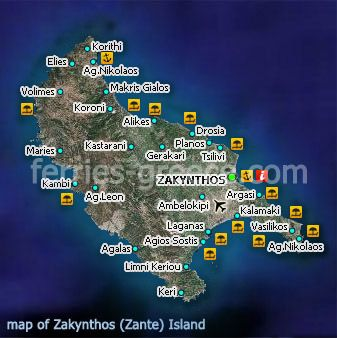 Map of zakynthos zante ionian islands greece zakynthos map of zakynthos zante ionian islands greece gumiabroncs Images