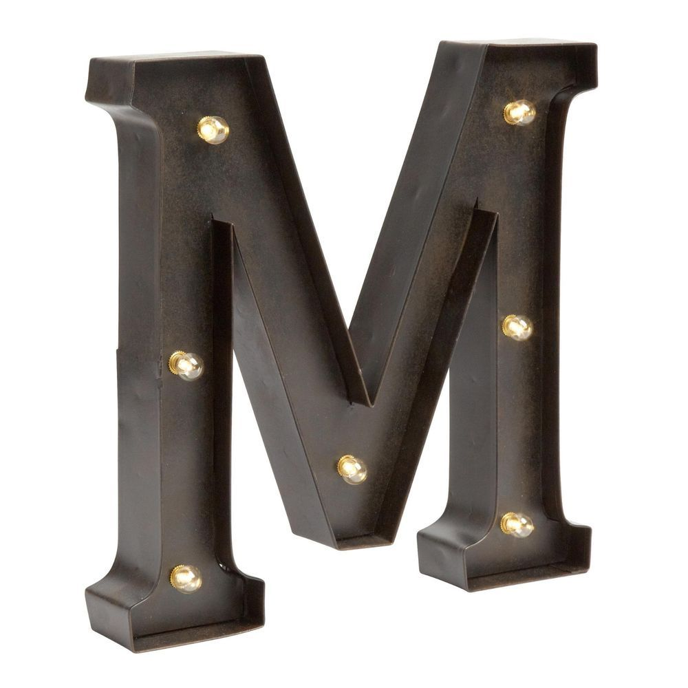 "12 Inch Galvanized Letters Industrial Black Metal Led Light Up Marquee Letter ""m"" 12"" H"