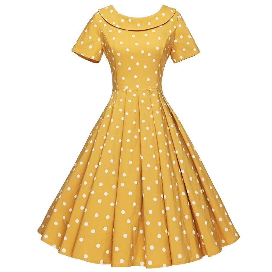 Gowntown Women's 1950s Polka Dot Vintage Dresses Audrey Hepburn Style Party Dresses - Vintage polka dot dress, Vintage dresses, Womens vintage dresses, 1950s party dresses, Vintage dress patterns, Dresses - Casual Dresses Gowntown Women's 1950s Polka Dot Vintage Dresses Audrey Hepburn Style Party Dresses