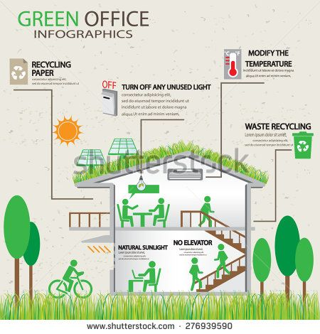 Ecology Green Office Working Place Infographic Element And