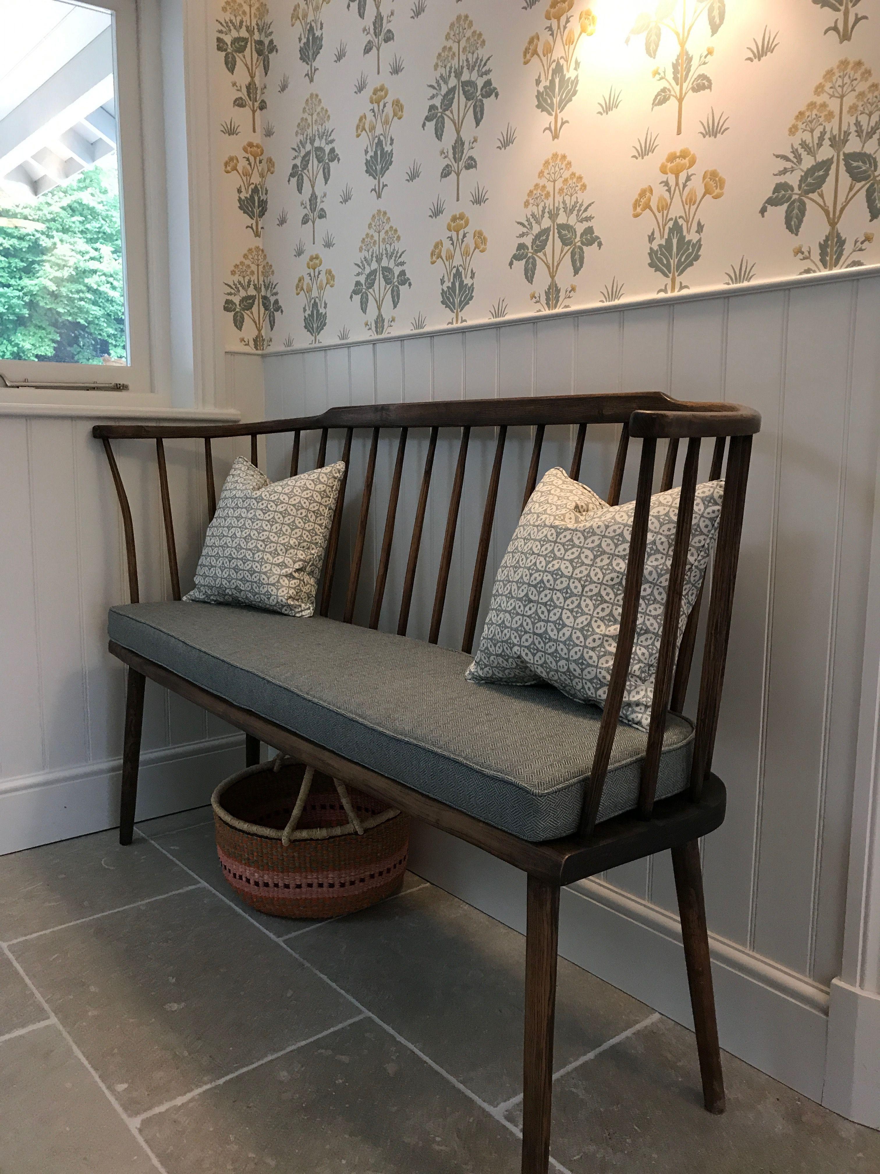 Hallway wallpaper or paint  William Morris Wallpaper and Fermoie cushions Savernake stone floor