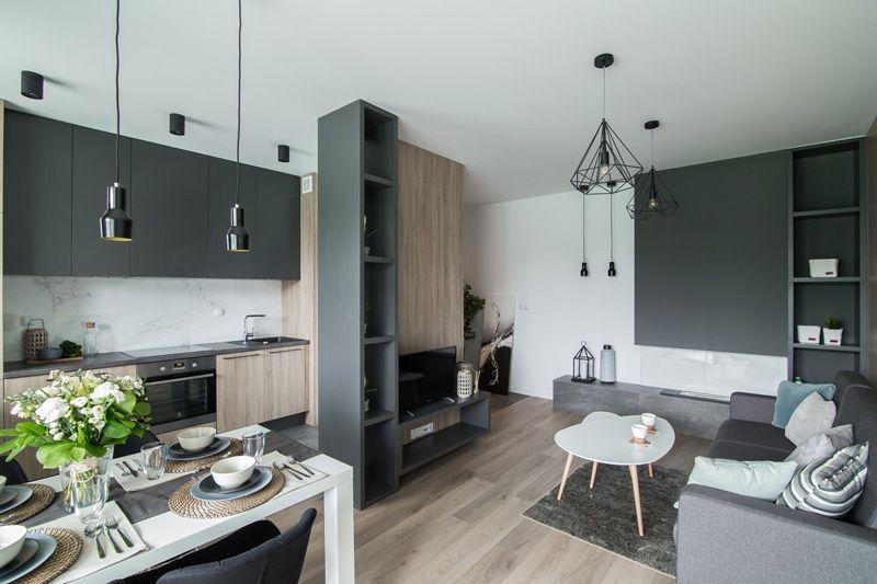 Nowoczesny Salon Z Aneksem Kuchennym Calosc W Stonowanym Stylu Skandynawskim Home Decor Indoor Design Interior