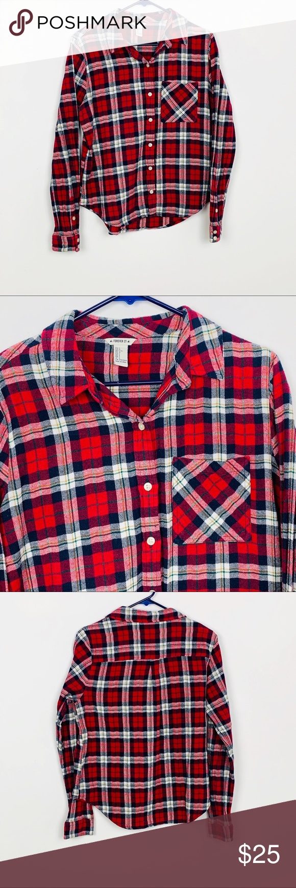 e4be6c391f2 Forever 21 Red Plaid Flannel Shirt Forever 21 Red