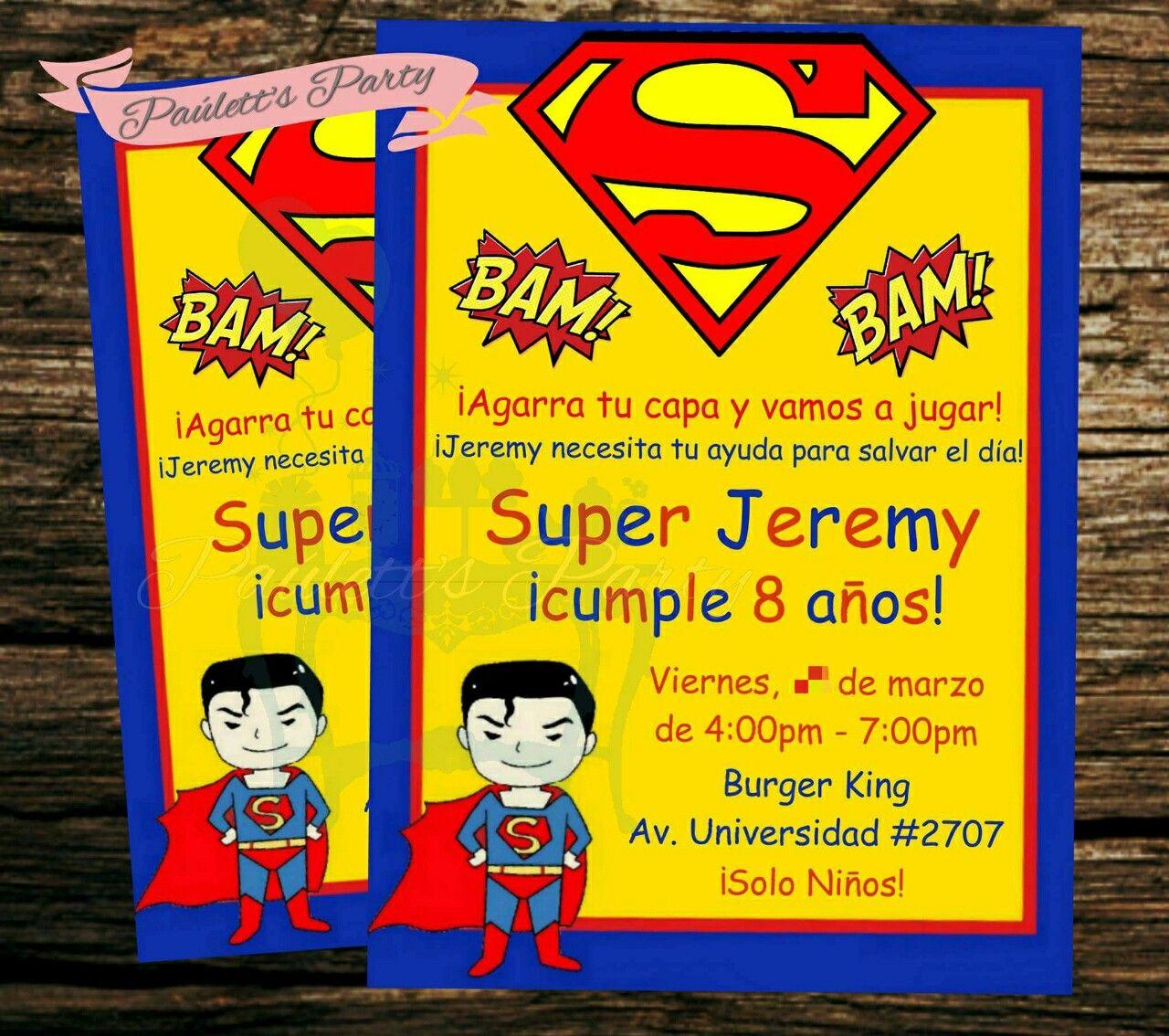 Superman invitations Birthday Invitations Pinterest Superman